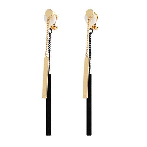 Pendientes de clip con almohadillas rectangulares y borlas negras colgantes para niñas, sin perforación