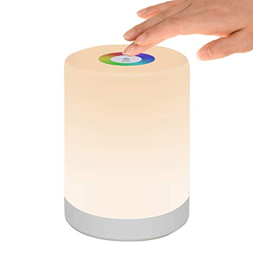 Luz de Nocturna Led, Lámpara de Mesita de Noche Control Tactil Regulable Usb Recargable Cambio de Color Rgb para Niños Habitación (Blanco Cálido)