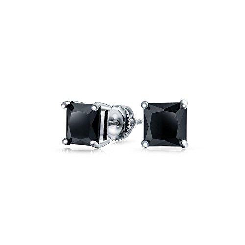 75 Ct Schwarze Quadratische Zirkonia Princess Cut CZ Ohrstecker Für Damen Schraubverschluss Ohrringe Sterling Silber