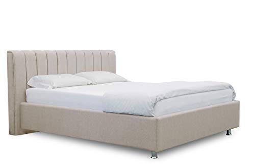 ES Design 08 Polsterbett Antony mit 5 Jahren Garantie, EIN hochwertiges Bett, Lattenrost und Stauraum (Beige, 140 x 200 cm)