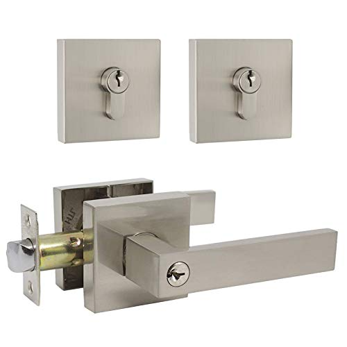 1 Set Entry Door Lever and Deadbolt Lock Set, Deadbolts Keyed Both Sides, All Keyed Same, Modern Style Front and Exterior Door Handleset with Double Cylinder, Satin Nickel Finish