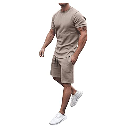Chejarity Herren Sommer Sportbekleidung, Männer Trainingsanzug 2-Teiliges Outfit Kurzarm Shirts + Kurze Hose Sets Jogginganzug Freizeitanzug Fitness Gym Running Sportanzug Freizeit Mode Sweatshirt