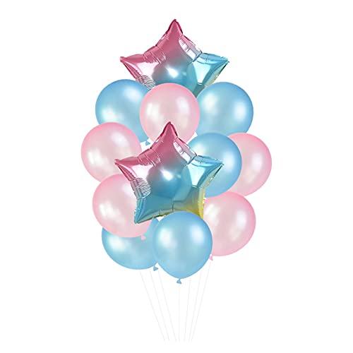 Globo 12 unids/Set 18in '' Gradient Star Foil Ballon 12in '' Latex Ballons Penta Helium Globos Fiesta Boda Decoraciones de cumpleaños Globos de cumpleaños (Color : T02)