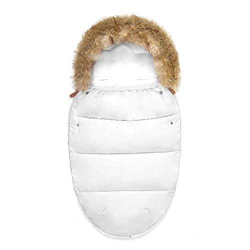 DJXLMN Saco de Dormir para Cochecito de bebé Funda cálida para pies para recién Nacidos, Manta Acolchada de Invierno para bebés de 0 a 3 años, Resistente al Viento e Impermeable,Blanco