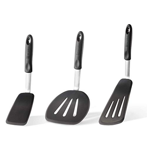 Di Oro Chef Series 3-Piece Silicone Turner Spatula Set - 600F Heat-Resistant Flexible Rubber Silicone Spatulas - Silicone Cooking Utensil Set - Egg Turners, Pancake Flippers, Kitchen Spatulas