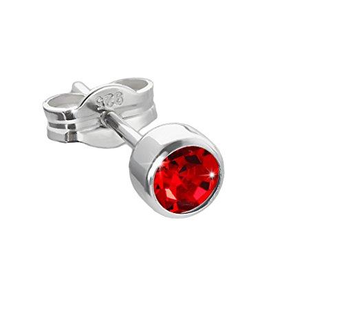 NKlaus single stud earrings argent 925er 4,50mm light red zirconia ladies men children 6548