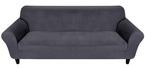 Couch Covers 2 Seater, Velvet Stretch 2 Seater Sofa Covers, Grey Sofa Covers With Elastic Bottom, 2 Sseater Sofa Cover for Leather Sofa Suitable for 145-185cm (Dark Grey)