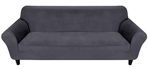 MR.COVER Sofabezug 3 Sitzer, Sofa Überzug Dunkelgrau, Sofaüberwurf Dehnbar&Verschleißfestig aus Polyester, Rutschfestes Sofa Cover, Haustierfreundliche Sofahusse(für 190~230cm lang 3-Sitzer Sofa)
