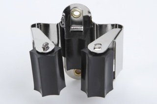 10 Stück Gerätehalter Werkzeughalter Besenhalter Gartengerätehalter Federstahl/Gummi vernickelt/schwarz 23mm flexibel einsetzbar