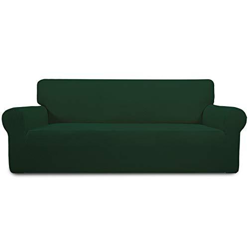 Easy-Going Funda elástica para sofá de gran tamaño, 1 pieza funda protectora para sofá suave con parte inferior elástica para niños, tela Jacquard de licra, pequeños cuadros (X grande, verde oscuro)