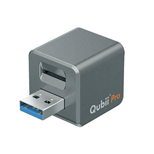 Maktar Qubii Pro automatisches Backup-Laufwerk für iPhone und iPad, MFi-zertifizierter Fotospeicherstick, externer Speicher mit Dateiorganisationsapp (microSD-Karte Nicht im Lieferumfang enthalten)