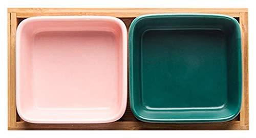 Sazonando Plato de 5 onzas 2 Paquete Cerámico Dip Bowls Set Mini Bowls Salsa de soja Plato / Cuencos con bandeja de bambú - Bueno para salsa de tomate, soja y otras placas de salsa cena de fiesta plat