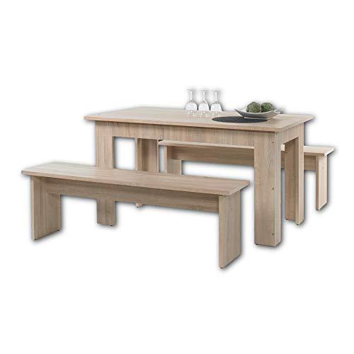 CORPORAL Tischgruppe in Eiche Sonoma Optik - Robuste Sitzgruppe mit Esstisch und Sitzbänken für Ihr Wohn- & Esszimmer - 140 x 75 x 80 cm (B/H/T)