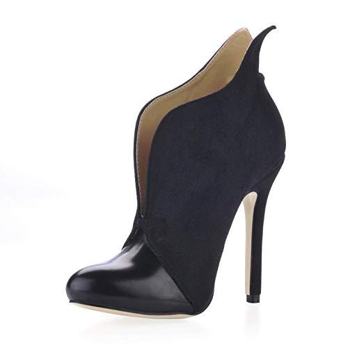 Damen Kurze Stiefel Winter Catwalk Wild OL Arbeitsplatz runde Kopf Stiefeletten schwarz High Heels -39, schwarz
