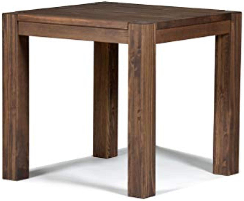 Naturholzmbel Seidel Esstisch Rio Bonito 80x80 cm quadratisch Pinie Massivholz gelt und gewachst, Holz Tisch für Esszimmer, Wohnzimmer Küche, Farbton Cognac braun, Optional  passende Bnke