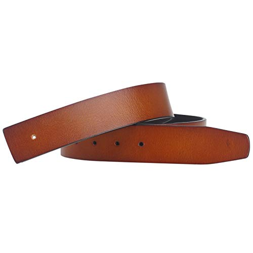 Replacement Belt Genuine Leather Retro Strap Without Buckle for H Buckle 38in Brown