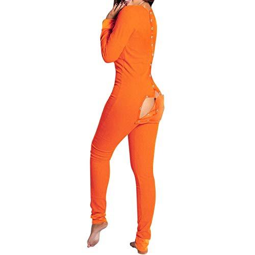 Pijama sexy de una pieza para mujer, con solapa funcional con botones en la espalda, mono de moda, color naranja, XXXL