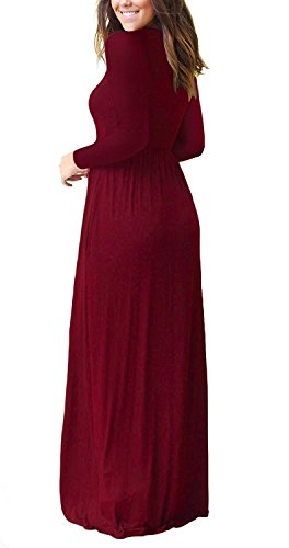 AUSELILY Women's Long Sleeve Casual Loose Pocket Maxi Party Long Dresses with Pockets (L, Wine Red)
