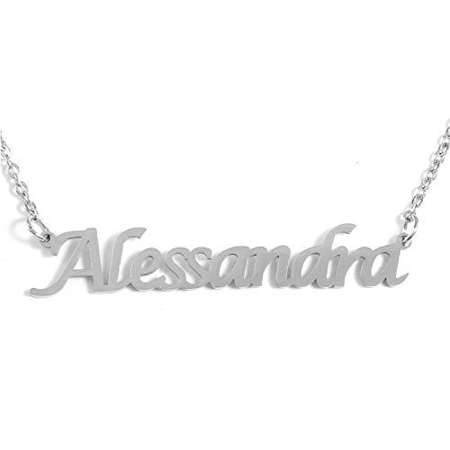 Kigu Alessandra - Collana con nome personalizzato, catena regolabile, confezione color argento