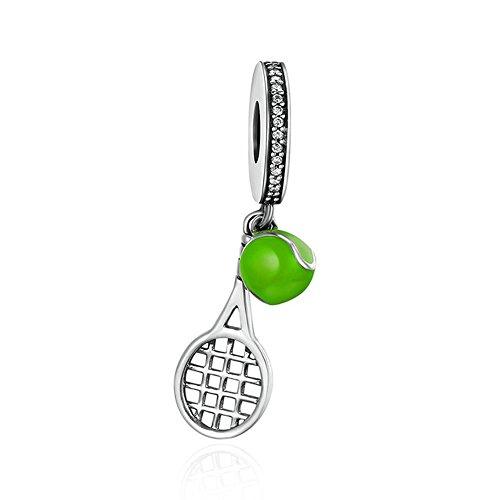 SCC335 Ciondolo a forma di racchetta e pallina da tennis, alla moda, in argento Sterling 925, adatto per bracciali da donna