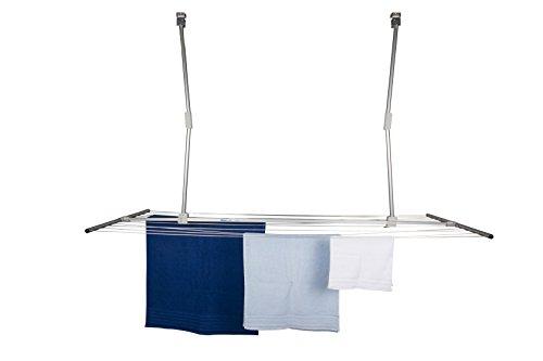 stewi Lift Deckentrockner Wäschetrockner für die Decke, Aluminium, Silber, 128-184cm x70cm x 18-110cm
