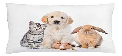 ABAKUHAUS Hond en kat Sierkussensloop, Bunny Piglet Staring, Decoratieve Vierkante Hoes voor Accent Kussen, 90 cm x 40 cm, Pale Peach Taupe