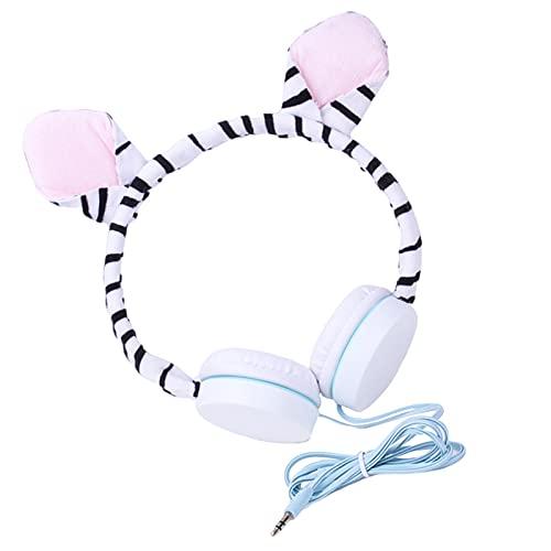 MERIGLARE Zebra-Stripe Animal Kids Headphones Auriculares con Cable de 3,5 mm para niños pequeños para niños, niñas, jardín de Infantes, Adolescentes, Clase en