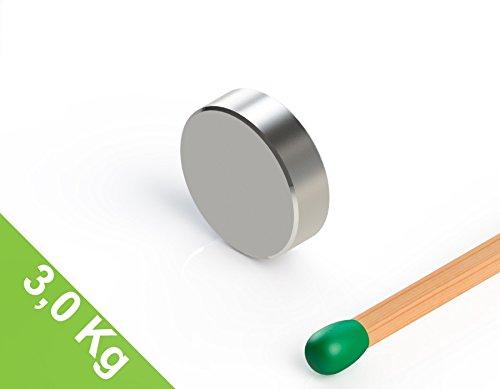 Neodym Scheibenmagnet, 10x3mm, vernickelt, Grade N52, magnetisch, Beulenmagnet oder Industriemagnet