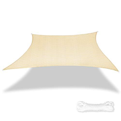 SunnyRoyal SC1620 Sun Shade Sail for Patio Backyard Deck UV Block Fabric Rectangle, 16' x 20', Beige Without Kit