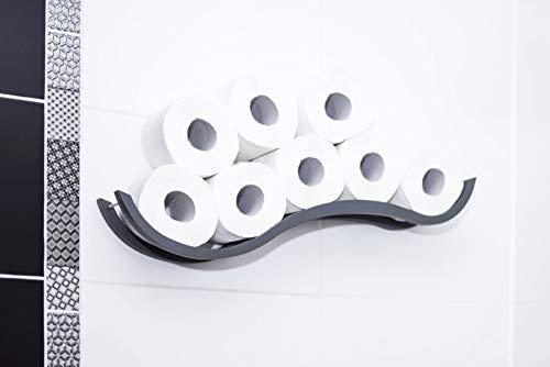 Toiletpapierhouder Badkamerrek Houthouder voor toiletpapier Wave Grijs