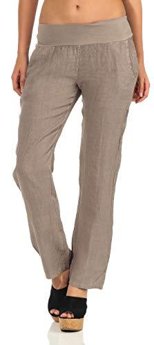 Malito Damen Hose aus Leinen | Stoffhose in Uni Farben | Freizeithose für den Strand | Chino - Jogginghose 7792 (Fango, L)