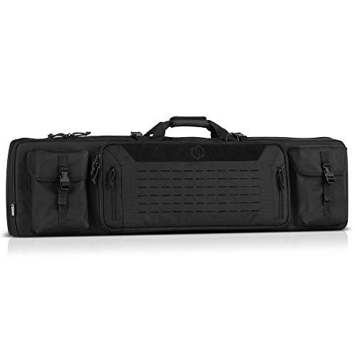Savior Equipment Urban Warfare Tactical Double Carbine Long Rifle Bag Gun Case Firearm Backpack w/Pistol Handgun Case - 42 Inch Obsidian Black