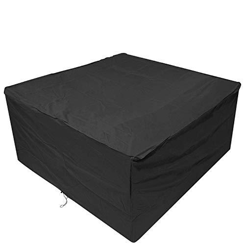 Anderlay Housse de Protection Bâche Housse table de Jardin Imperméable Anti-poussière Antisolaire En Polyester Oxford Pour des Meubles de Jardin Noir 123x123x74CM