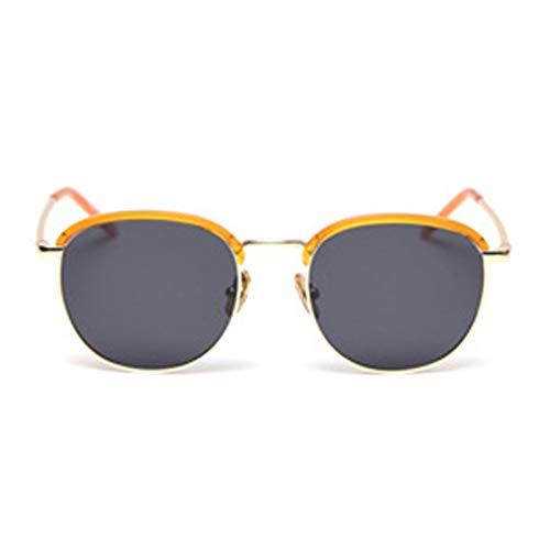 HDSJJD Damas Hombres Medio Marco Gafas De Sol Polarizadas Retro Classic Classic Color Redondo Color Deportes Gafas De Conducción UV400,E