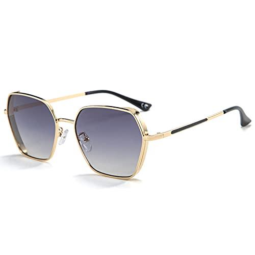 xzl Gafas de Sol de Gran tamaño para Mujeres, Hombres de Marco Cuadrado Vintage con Lente Plana de protección UV400, Tonos clásicos Retro Vintage, F