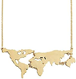 Wanderlust Travel Globe World Map Pendant Necklace