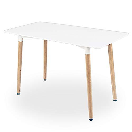 Cepewa Esstisch | moderner Küchentisch |120 x 80 x 75 cm | weiße Tischplatte aus MDF| 4-6 Personen | Holzbeine höhenverstellbar aus Buche