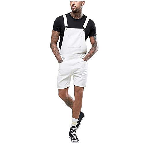 Peto Vaquero Hombre Corto Verano Casual Pantalones Vaqueros de Mono Blanco pantalón de Tirantes multibolsillo Pantalones de Mezclilla Jeans Blanco 165