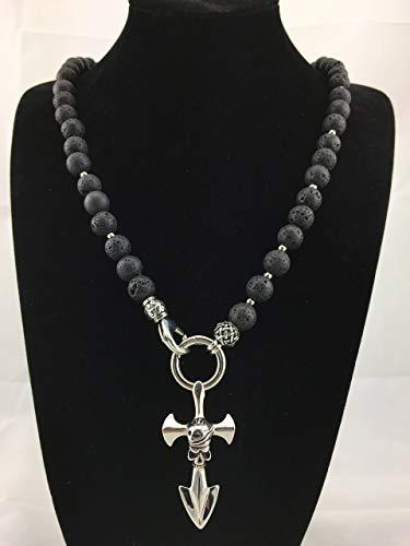2in1 Halskette Y-Kette Rosenkranz Black aus Lava Perlen, für Herren Schmuck Männer schwarz mit Anhänger, Perlenkette Bikerschmuck Rocker Totenkopf Skull Anker Kreuz K75L
