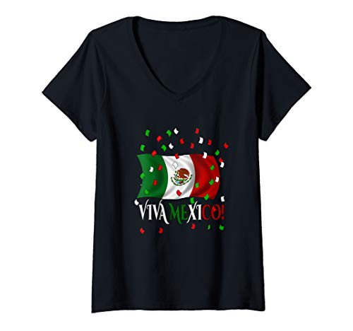 Womens Viva Mexico Mexican Flag Independence Day Apparel Gifts 2019 V-Neck T-Shirt