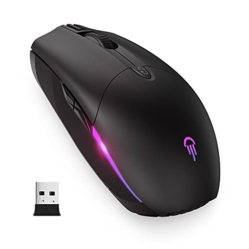 RGB Wireless Mouse, Jelly Comb Bluetooth Rechargeable LED Mouse with Adjustable DPI and Silent Click Optical Mice, Support 3 Device for Laptop Macbook Windows PC Tablet, MS057-Black