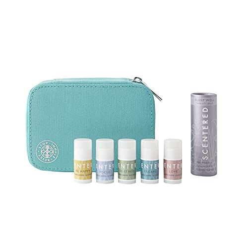 Scentered DAILY RITUAL Aromatherapy Balm Gift Set - Includes Sleep Well (5g), Mini De-Stress, Happy, Escape & Love