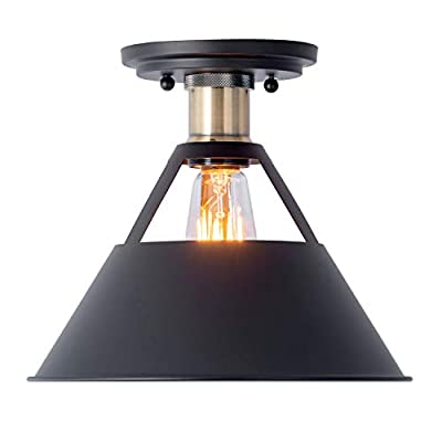 Industrial Close to Ceiling Lights,Vintage Matte Black Shade Metal Ceiling Light,Semi Flush Mount Ceiling Lamp Fixture for Kitchen Hallway Stairway Restaurants,10in,1 Pack