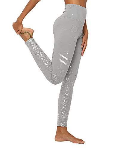 DEEWISH Hosen Damen, Frauen Leggings Hose Yogahose Sport-Leggings Jogginghose | Sport Fitness Workout Leggins | Stretch Yoga Hosen Pants | Sporthose, Grau Silber, XL