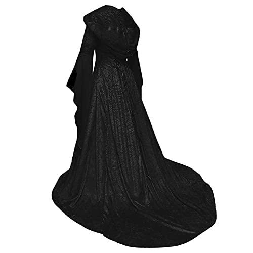 DealMux vestido medieval vestido de túnica de manga larga con capucha hasta...