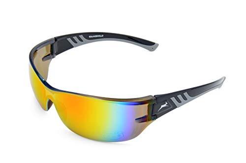 Gamswild Sonnenbrille WS8232 Sportbrille Skibrille Damen Herren Fahrradbrille Unisex | blau | schwarz | weiß, Farbe: Schwarz