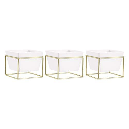 AmazonBasics - Macetero de mesa, cuadrado, blanco/latón, 3 unidades