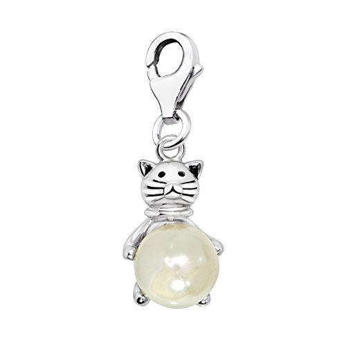 Quiges Charms Anhänger Katze auf Perle Versilbert Damen Schmuck für Bettelarmband