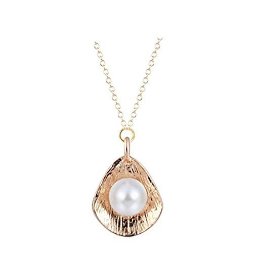 Youkeshan Hanigbibi - Collar de perlas de plata o oro, colgante de concha, collar de perlas blancas, collar de concha de mar, collar de playa de perlas (oro)