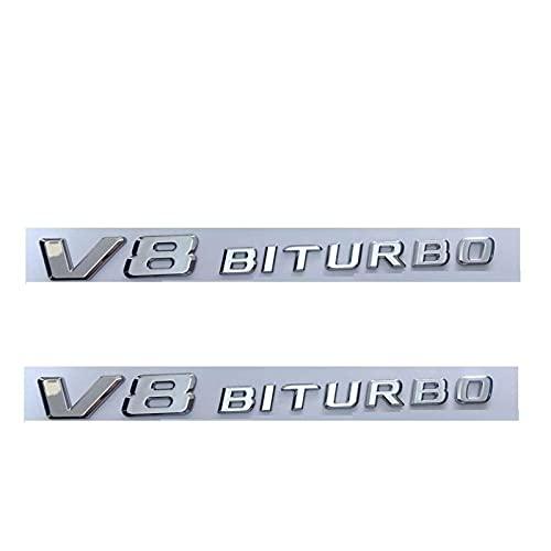Letra Emblema 1 par de Letras Planas de Cromo V8 biturbo Insignias de emblemas de Guardabarros encajan for Mercedes (Color : V8 BITURBO)